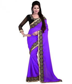 Buy Bhuwal Fashion Purple Faux Chiffon Embroidered Saree With Blouse PCs Bf114purple online