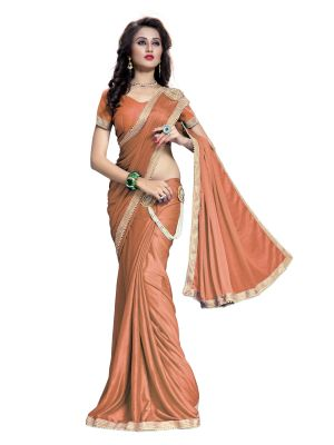 Buy Bhuwal Fashion Ready To Wear Golden Color Lycra Saree Bf1bijli-c online