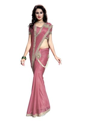 Buy Bhuwal Fashion Ready To Wear  Peach Color Lycra Saree online