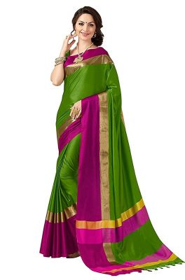 Buy Bhuwal Fashion Green Cotton Silk Saree-bf180 online