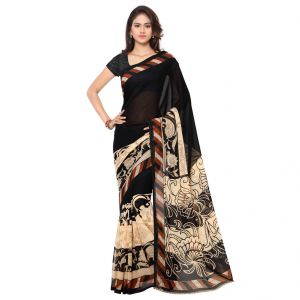 Buy Bhuwal Fashion Black And Beige Georgette Printed Formal Saree (bfdna1134a) online
