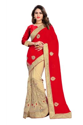 Buy Bhuwal Fashion Red Faux Georgette Party Wear Saree With Blouse PCs Bfgajra9a online