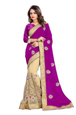 Buy Bhuwal Fashion Purple Faux Georgette Party Wear Saree With Blouse Pcs online