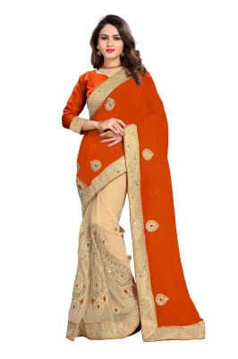Buy Bhuwal Fashion Orange Faux Georgette Party Wear Saree With Blouse Pcs online