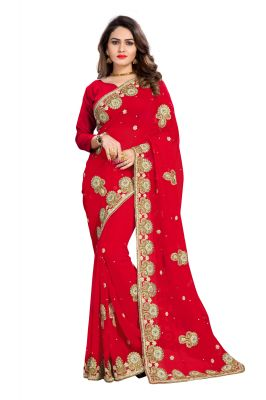 Buy Bhuwal Fashion Red Faux Georgette Party Wear Saree With Blouse Pcs online