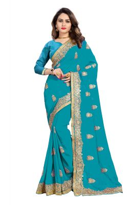 Buy Bhuwal Fashion Sky Blue Faux Georgette Party Wear Saree With Blouse Pcs online