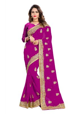 Buy Bhuwal Fashion Pink Faux Georgette Party Wear Saree With Blouse Pcs online