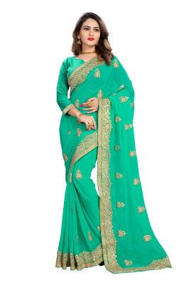 Buy Bhuwal Fashion Turquoise Faux Georgette Party Wear Saree With Blouse PCs Bfmeghana42i online
