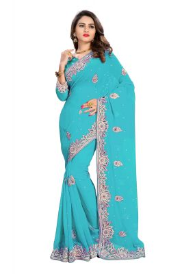 Buy Bhuwal Fashion Sky Blue Faux Georgette Party Wear Saree With Blouse PCs Bftanika27b online