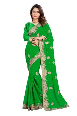 Buy Bhuwal Fashion Green Faux Georgette Party Wear Saree With Blouse PCs Bftanika27f online