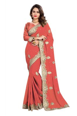 Buy Bhuwal Fashion Peach Faux Georgette Party Wear Saree With Blouse PCs Bftanika27i online