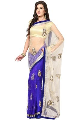 Buy Aagaman Fashion Splendid Blue Colored Border Worked Net Saree online