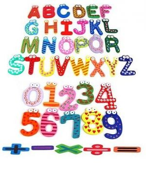Buy Fridge Magnet Wooden 41 Stickers Alphabets Numbers And Symbols In Vibrant C online
