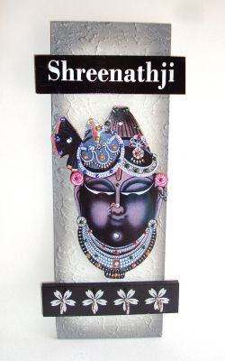 Buy Key Holder - Decorative, Wooden, Handcrafted With God Photo - Shreenathji online