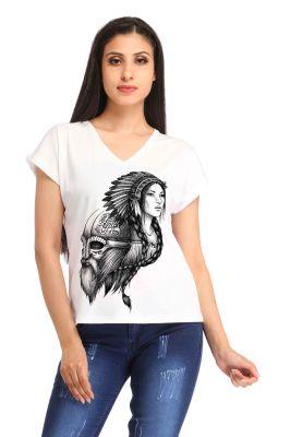 Buy Snoby White V-neck Print T-shirt (sbypt1545) online