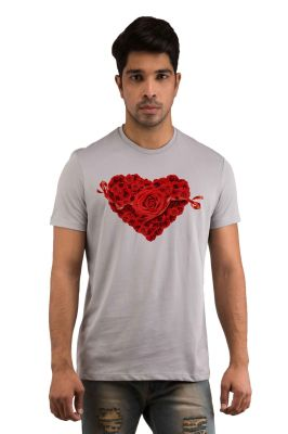 Buy Snoby Heart With Rose Printed T-shirt(sby17976) online