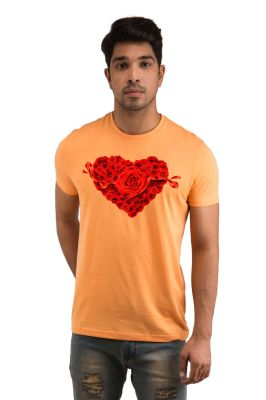 Buy Snoby Heart With Rose Printed T-shirt(sby17978) online