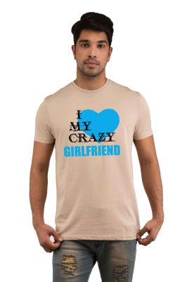 Buy Snoby I Love My Crazy Girlfriend Printed T-shirt(sby18040) online