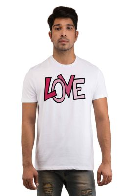 Buy Snoby Pink Love Printed T-shirt(sby18155) online