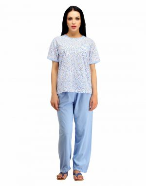 Buy Snoby While & Blue Cotton Nightwear online