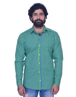 Buy Snoby Mens Casual Plaid Cotton Shirt In Green (sby8010) online