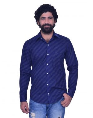 Buy Snoby Striped Cotton Shirt In Navy Blue (sby8013) online