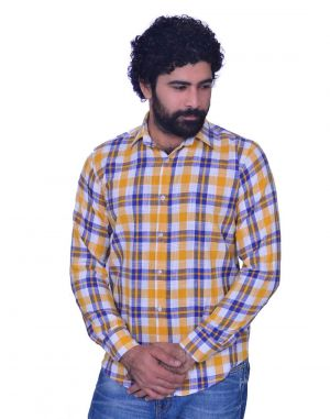Buy Snoby Mens Casual Plaid Cotton Shirt In Yellow (sby8017) online