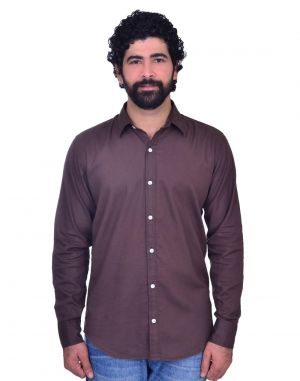 Buy Snoby Casual Cotton Shirt In Dark Brown online