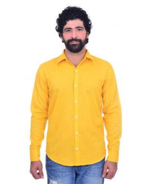 Buy Snoby Yellow Casual Plain Cotton Shirt (sby8024) online