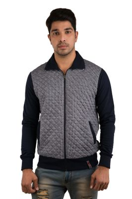 Buy Snoby Check Pattern Grey & Dark Blue Zip Jacket (sby9021) online