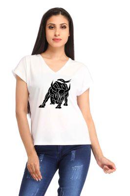 Buy Snoby Black Bull Printed T-Shirt online