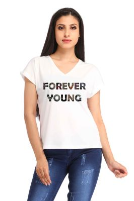 Buy Snoby Forever Young Print T-shirt (sbypt1789) online