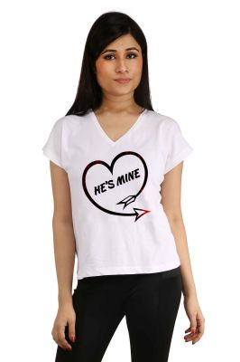 Buy Snoby He Is Mine Printed T-Shirt online
