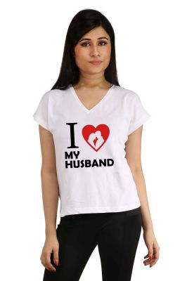 Buy Snoby I Love My Husband Printed T-Shirt online