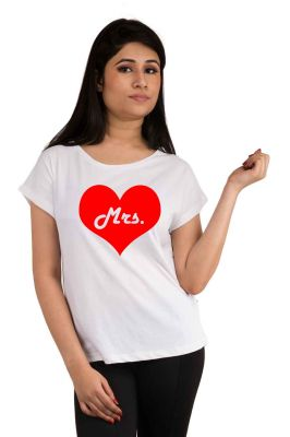Buy Snoby Mrs. Heart Printed T-Shirt online