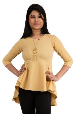 Buy Snoby Beige Frockstyle With Pendant Design Top online