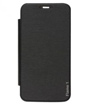 Buy Snoby Artificial Leather Flip Cover For Lyf Flame 1 (Black) online