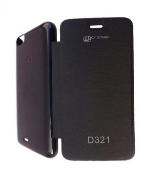 Buy Snoby Artificial Leather Flip Cover For Micromax Bolt D321 (Black) online