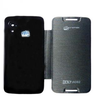 Buy Snoby Artificial Leather Flip Cover For Micromax Bolt A082 (Black) online