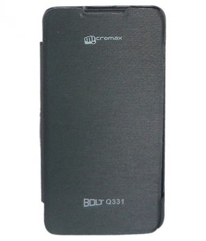 Buy Snoby Artificial Leather Flip Cover For Micromax Bolt Q331 (black) (setm_248) online