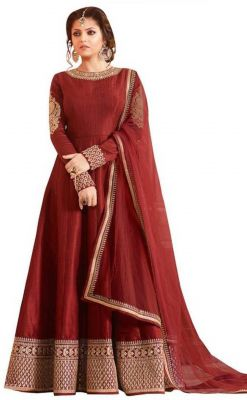 Buy Fashionuma Designer Banglory Silk Embroidered Anarkali Semi Stitched Salwar Suit online