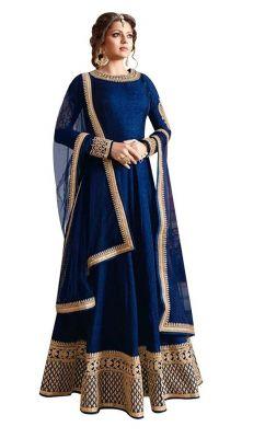 Buy Fashionuma Designer Banglory Silk Embroidered Anarkali Semi Stitched Salwar Suit Bipo-02 online