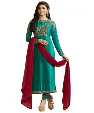Buy Fashionuma Designer Satin Embrodered Semi Stitched Bollywood Replica Salwar Suit Shiv-836 online