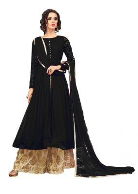 Buy Fashionuma Designer Georgette Embroidered Anarkali Indowestern Sharara Suit F1031 online