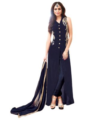 Buy Fashionuma Latest Designer Gerogette Straight Cut Salwar Suit online