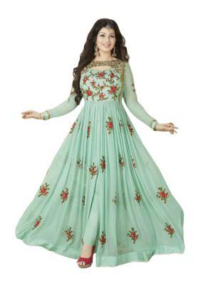 Buy Fashionuma Stylish Designer Embroidered Gerorgette Bollywood Anarkali Salwar Suit F1018 online