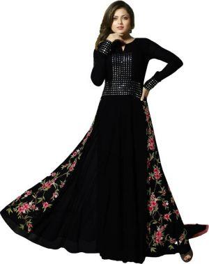 Buy Fashionuma Designer Georgette Embroidered Anarkali Semi Stitched Salwar Suit Bipo-37 online