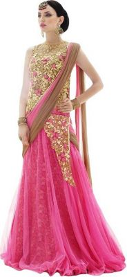 Buy Fashionuma Net Party Wear Lehenga In Baby Pink Colour Choli Shiv-822 online