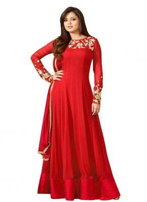Buy Fashionuma Designer Georgette Embroidered Anarkali Semi Stitched Salwar Suit online
