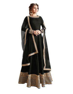 Buy Fashionuma Designer Black Banglory Silk Black Semi Stitched Salwar Suit F151 online
